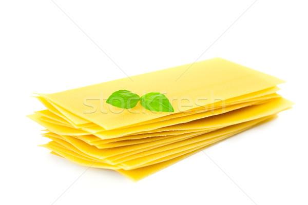 Lasagna pasta basilico erbe foglia isolato Foto d'archivio © Taiga
