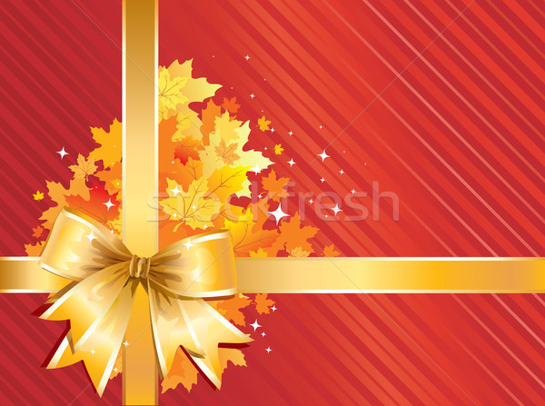 Autumn Background /  Thanksgiving Bow with gold  leaves Stock photo © Taiga