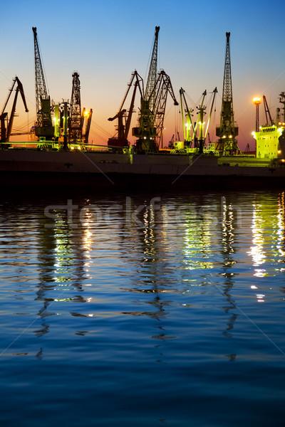 Haven vracht silhouet zonsondergang container business Stockfoto © Taiga