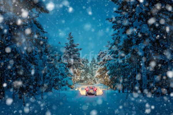 Tél vezetés hóesés éjszaka fények autó Stock fotó © Taiga