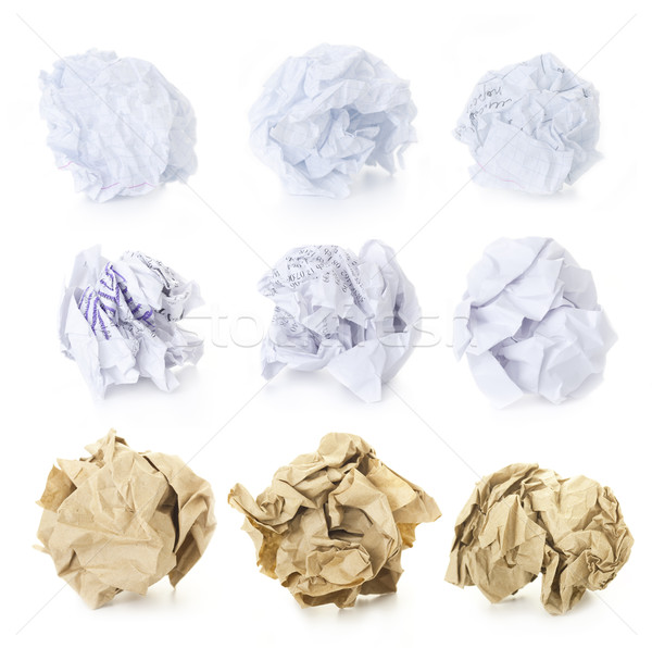 Set of  Crumpled Paper Balls - Squered, Office and Brown Craft   Stock photo © Taiga