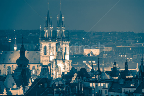 Prague, fantastic old town roofs at night - vintage toned Stock photo © Taiga