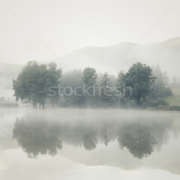 Stock photo: Mist on a lake at dawn with trees and mountains reflected in the