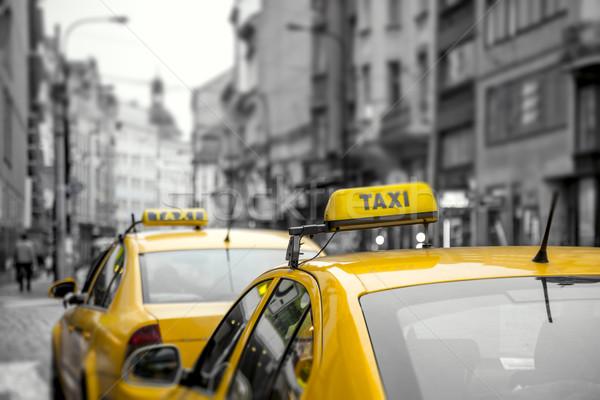 желтый такси автомобилей улице вниз города Сток-фото © Taiga
