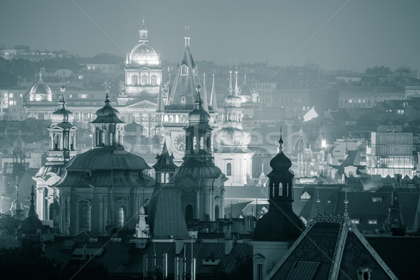 Belle nuit vue Prague célèbre silhouettes Photo stock © Taiga