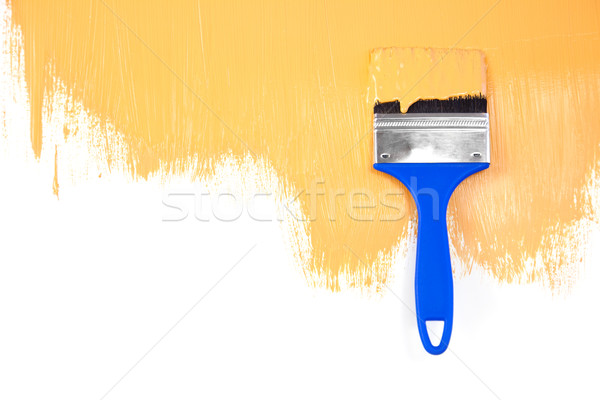 Orange  painted shape with brush / white background Stock photo © Taiga