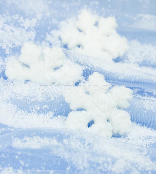 Christmas sneeuwvlokken lichtblauw papier achtergrond ijs Stockfoto © Taiga