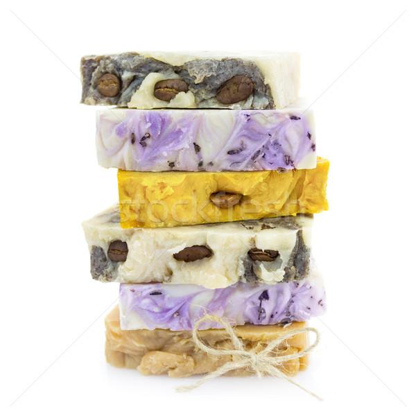 Handgemaakt zeep geïsoleerd witte natuurlijke Stockfoto © Taiga
