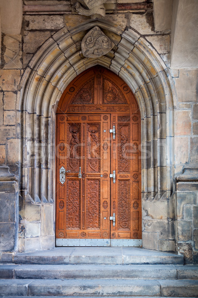 Old Richly carved oak door, Europe Stock photo © Taiga