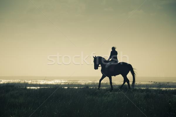 A Rider Silhouette on Horseback / split toned / retro style Stock photo © Taiga