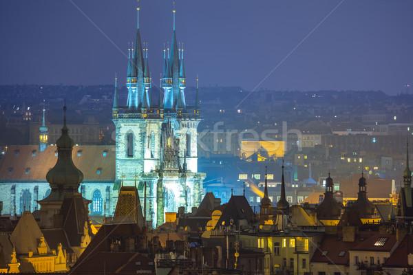 Fantastisch oude binnenstad daken Praag Europa schemering Stockfoto © Taiga