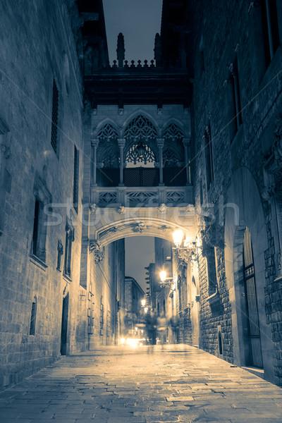 улице Готский ночь Барселона Испания узкий Сток-фото © Taiga