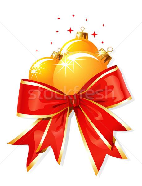 クリスマス 装飾 弓 ベクトル 雪 ストックフォト © Taiga