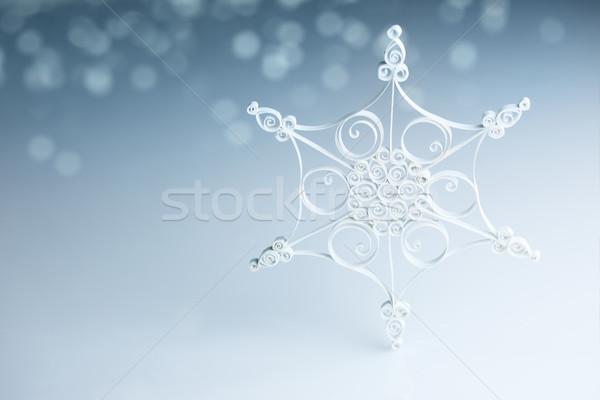 Mooie witte handgemaakt sneeuwvlok Blauw horizontaal Stockfoto © Taiga