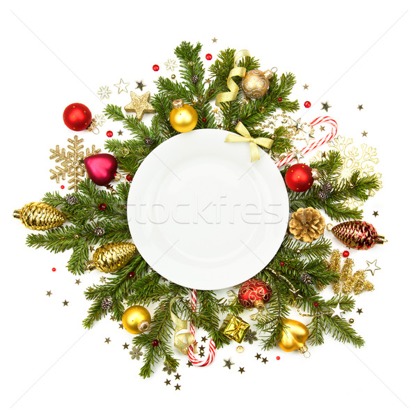 White Christmas plate with baubles, stars and fir -  isolated  Stock photo © Taiga