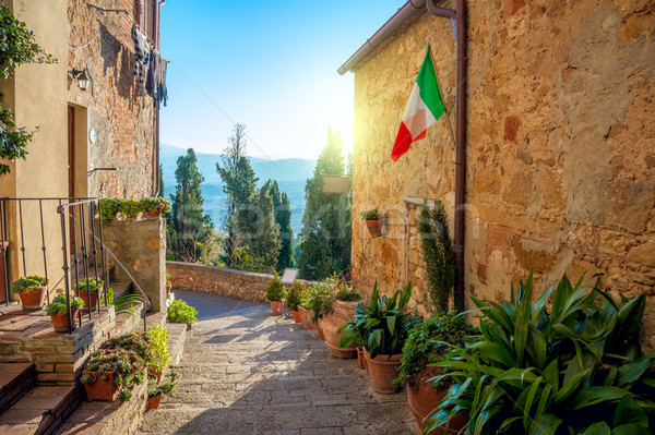 Small Mediterranean town - lovely Tuscan stree Stock photo © Taiga