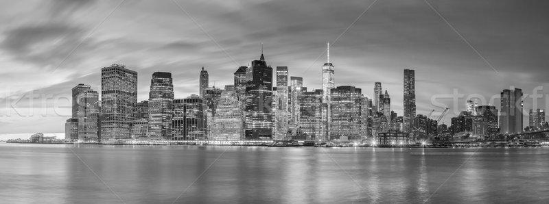 Nuit lumières célèbre Manhattan New York panoramique Photo stock © Taiga