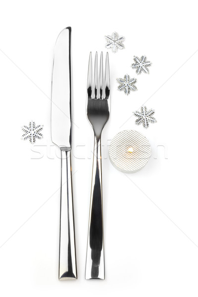 knife, fork with snowflakes and candle Stock photo © Taiga