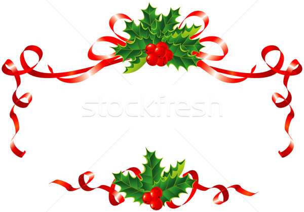Christmas decoration / holly and ribbons border / vector Stock photo © Taiga