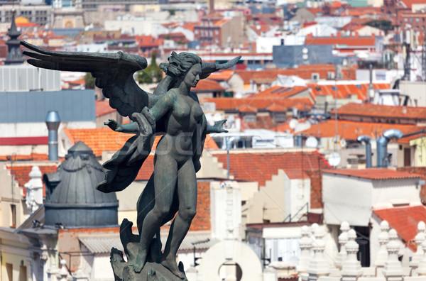 Zdjęcia stock: Widok · z · lotu · ptaka · Madryt · Hiszpania · słynny · posąg · dachy