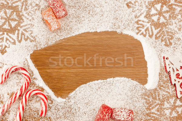 Christmas background with Candies, snowflackes and decotative Ch Stock photo © Taiga