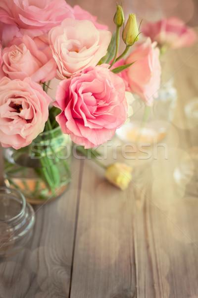 Stockfoto: Heldere · vintage · rozen · bokeh · romantische · verticaal