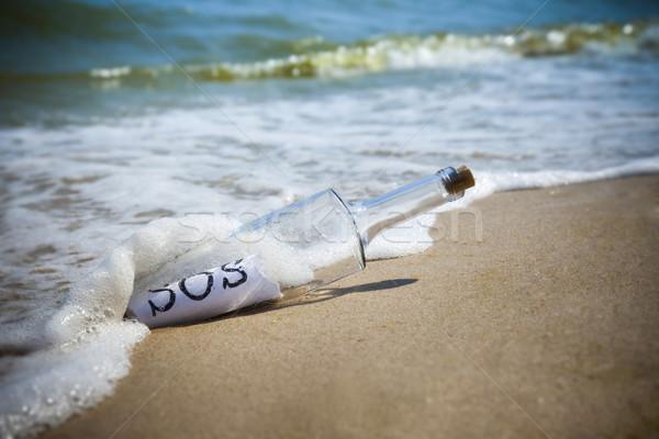 Mensagem garrafa sos praia água Foto stock © Taiga