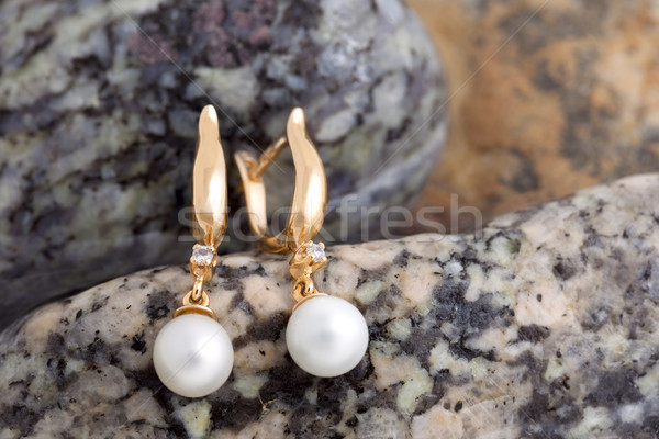 Gold Earrings with Diamonds and Pearls on the natural stones bac Stock photo © Taiga