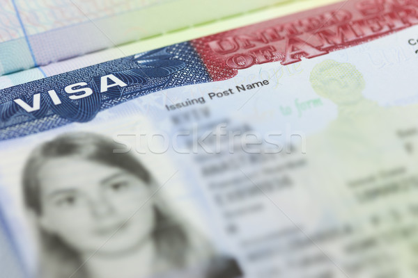 The American Visa in a passport page (USA) background Stock photo © Taiga