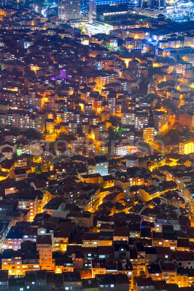 Aerial view of the city with houses at night time Stock photo © Taiga