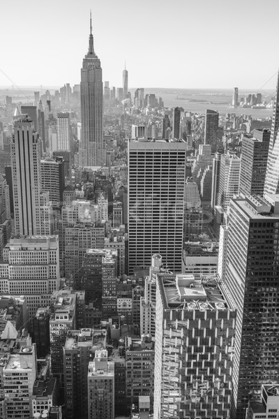 New York City Manhattan centre-ville Skyline blanc noir USA Photo stock © Taiga