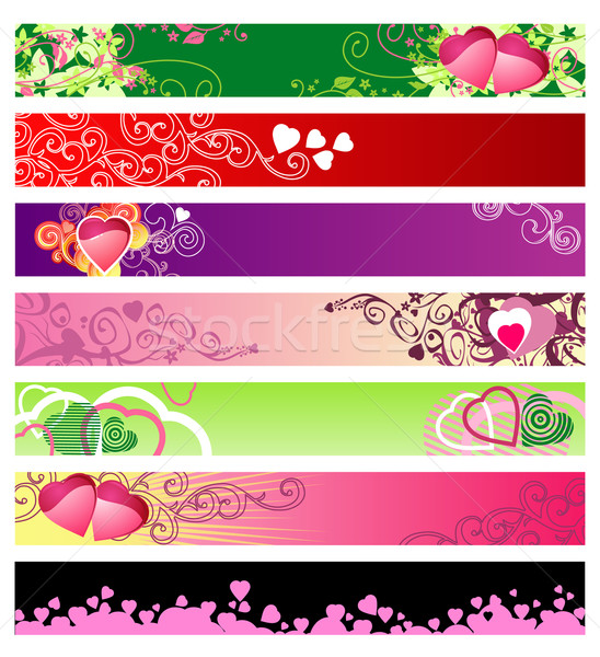 Stock photo: love & hearts website banners / vector / set #1