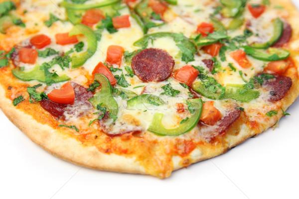 Pizza blanco fondo queso grasa tomate Foto stock © Taiga