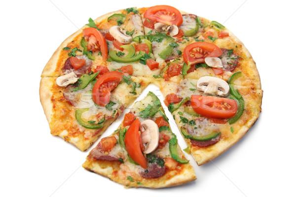 Pizza beyaz arka plan peynir yağ domates Stok fotoğraf © Taiga