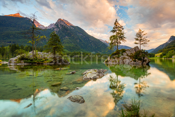 Lake and mountains at sunrise   Stock photo © Taiga