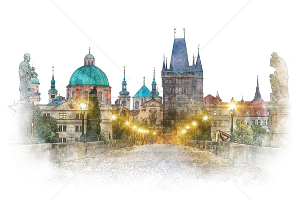 Stock photo: Prague - famous landmark Charles Bridge, watercolor artwork