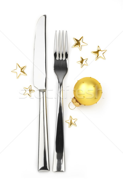 knife and fork with bauble and stars Stock photo © Taiga