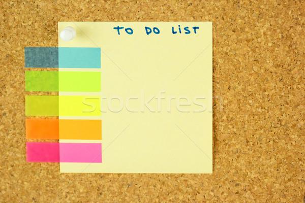 Para hacer la lista etiqueta corcho calendario oficina papel Foto stock © Taiga