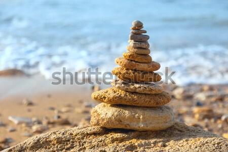 Kamienie równowagi niebieski morza bokeh spa Zdjęcia stock © Taiga