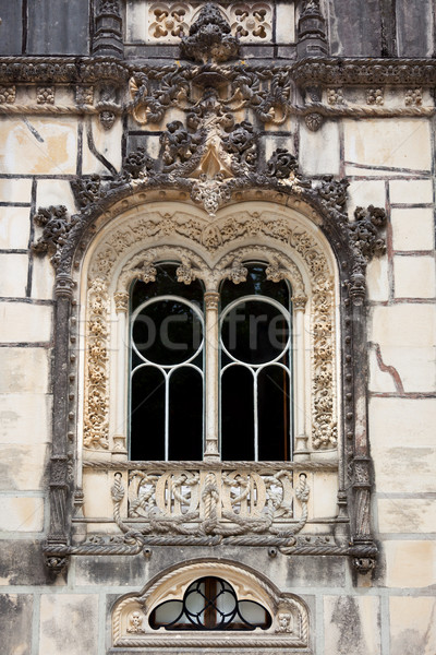 Ornamental window / Quinta da Regaleira Palace in Sintra, Lisbon Stock photo © Taiga