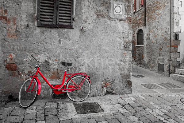 Historical Mediterranean town street with red bike Stock photo © Taiga