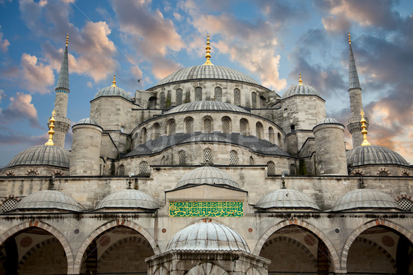 Blue Mosque from courtyard against beautiful sky, Istanbul Stock photo © Taiga