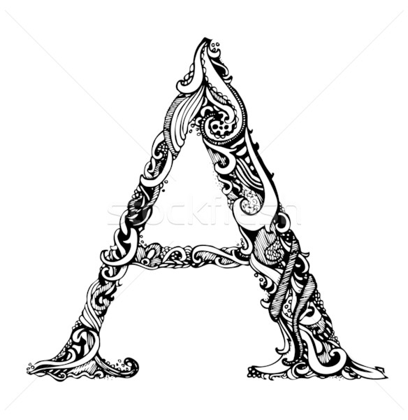 Capital Letter A - Calligraphic Vintage Swirly Style Stock photo © Taiga