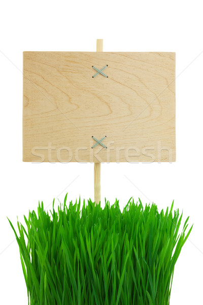 Blank wooden Sign with green Grass / isolated Stock photo © Taiga