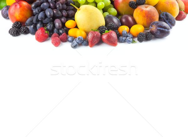 Frontera diferente frutas aislado blanco espacio de la copia Foto stock © Taiga