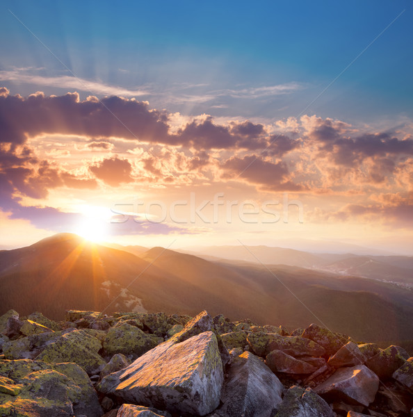 Beautiful sunset in the mountains landscape. Dramatic sky and co Stock photo © Taiga