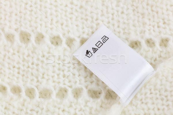 Wasserij tag witte gebreid wol trui Stockfoto © Taiga