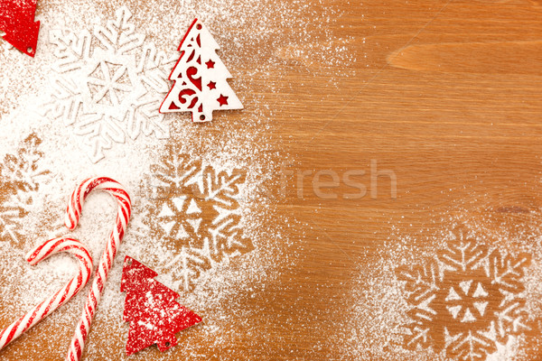 Christmas background with Candies, snowflakes and decorative Chr Stock photo © Taiga