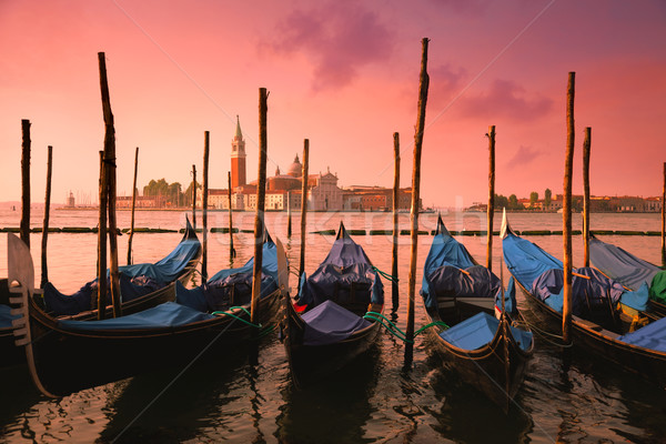 Venice with famous gondolas at gentle pink sunrise light, Italy Stock photo © Taiga