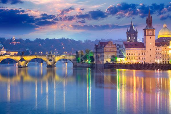 Praha wieczór Europie słynny noc czasu Zdjęcia stock © Taiga